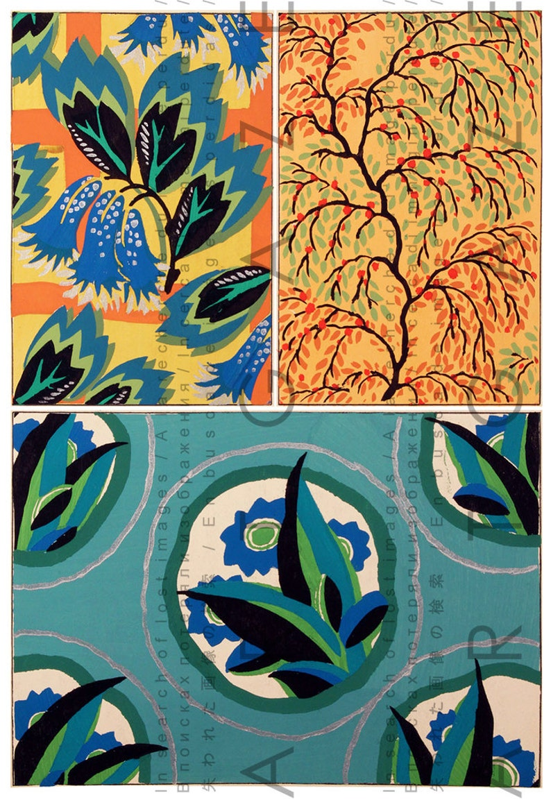 Fab Art Deco Flowers Vintage 20s Fabric Patterns French Etsy