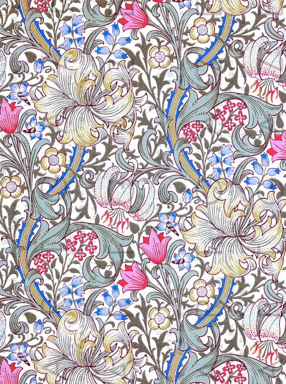 Arts Crafts Wallpaper Lily Flowers William Morris Printable Etsy