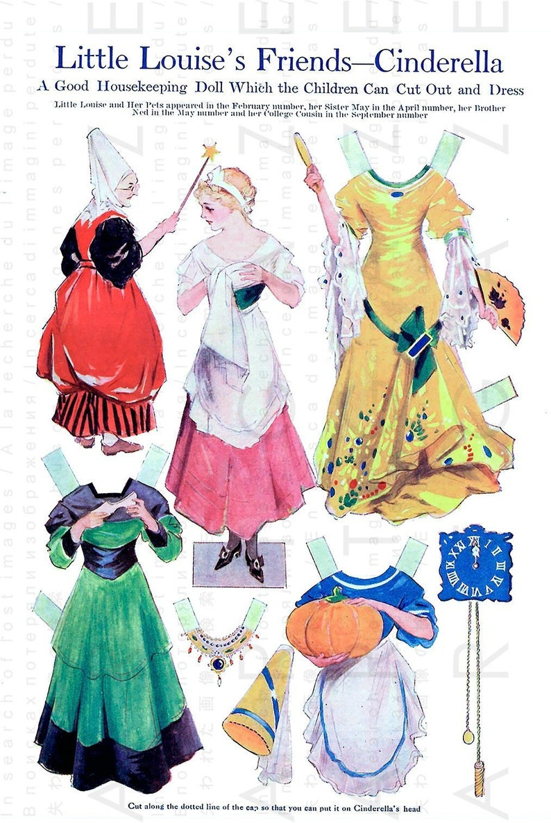 photo relating to Printable Vintage Paper Dolls known as CINDERELLAS PAPER DOLLS. Printable Traditional Paper Dolls Electronic Down load. Artwork Deco Fairy Story Costume Up Dolls.