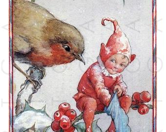 ROBIN & ELF Sharing The CHRISTMAS Stocking Treats Vintage Illustration. Digital Christmas Download. Vintage Fairy Tale Art Print.