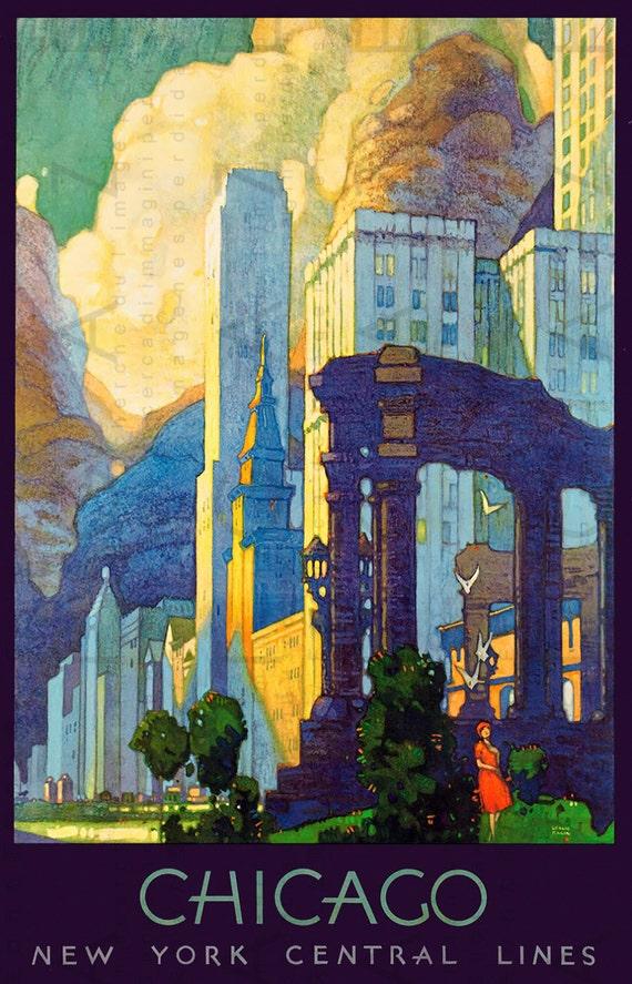 Art Deco Poster New York.Chicago Travel Poster Art Deco Chicago New York Central Lines Vintage Train Travel Print Digital Travel Download