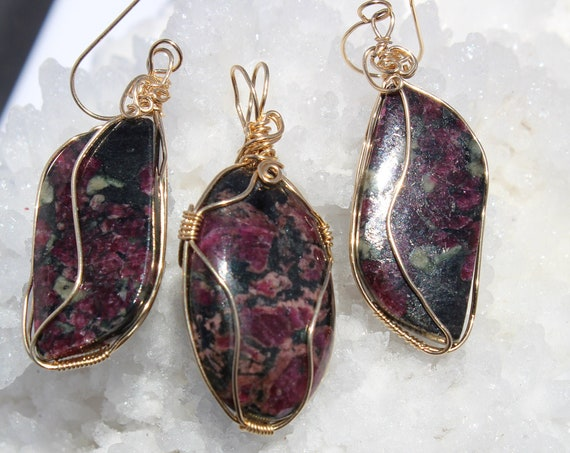 "Exquisite Eudialyte pendant and earrings- wrapped in 14k/20mic gold filled wire. vibrant colors   ""Feeling Happy"" 18 inch gf chain inc."