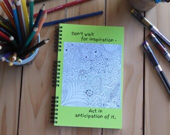 Wire Bound Spiral Notebook, Sketchbook; Color the Cover with ink or pencil; Premium Unlined Paper; Write, Sketch, Doodle; Inspiration Quote