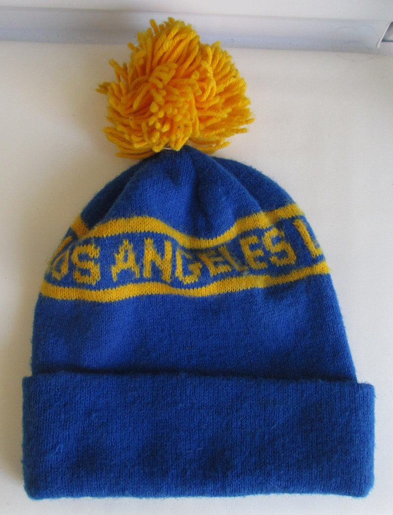 Vintage 70s 80s LOS ANGELES RAMS knit winter pom ski beanie Hat nfl nwa  raiders ... Vintage 70s 80s LOS ANGELES RAMS knit winter pom ski beanie Hat  nfl nwa ... 43590dd3fa17