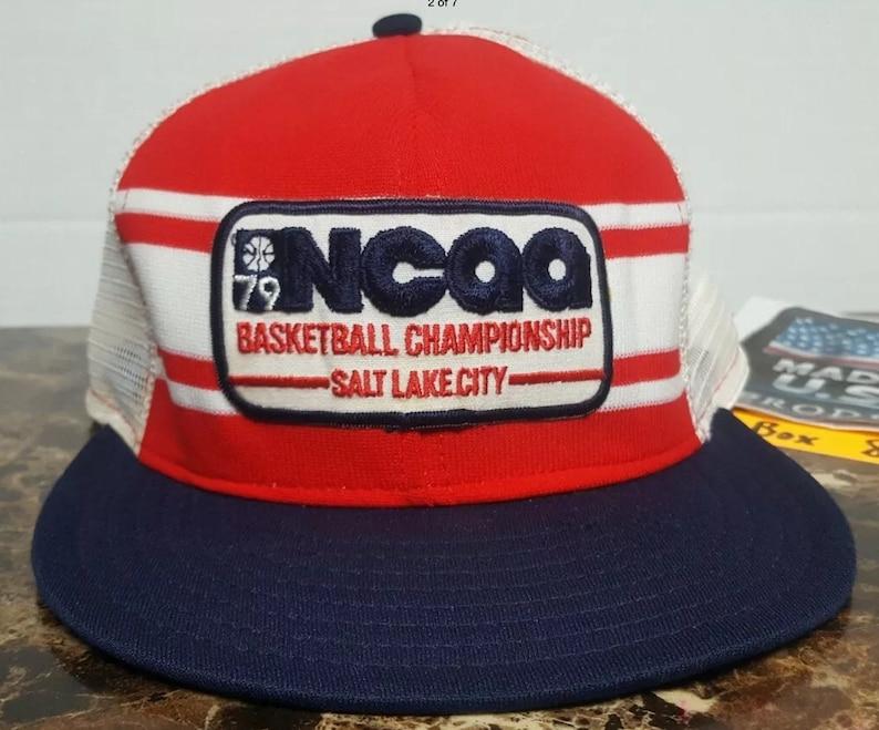 a438b6047 1979 NCAA FINAL FOUR Basketball Championship Vintage 70s 80s Snapback Hat  march madness Larry Bird vs Magic Johnson boston celtics la lakers