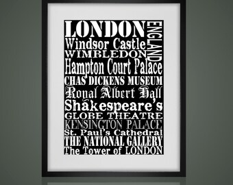 Framed Wall Art - LONDON SUBWAY Sign-  Matted And Framed - Free Shipping -  Black or White Frame  Urban Art-  Available In 3 Sizes
