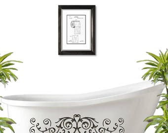 Toilet Paper Patent Illustration, Matted and Framed or Just Matted and Ready for Your Frame