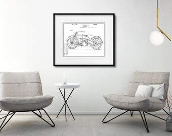 Harley Davidson Patent Print Matted And Framed Motorcycle Etsy