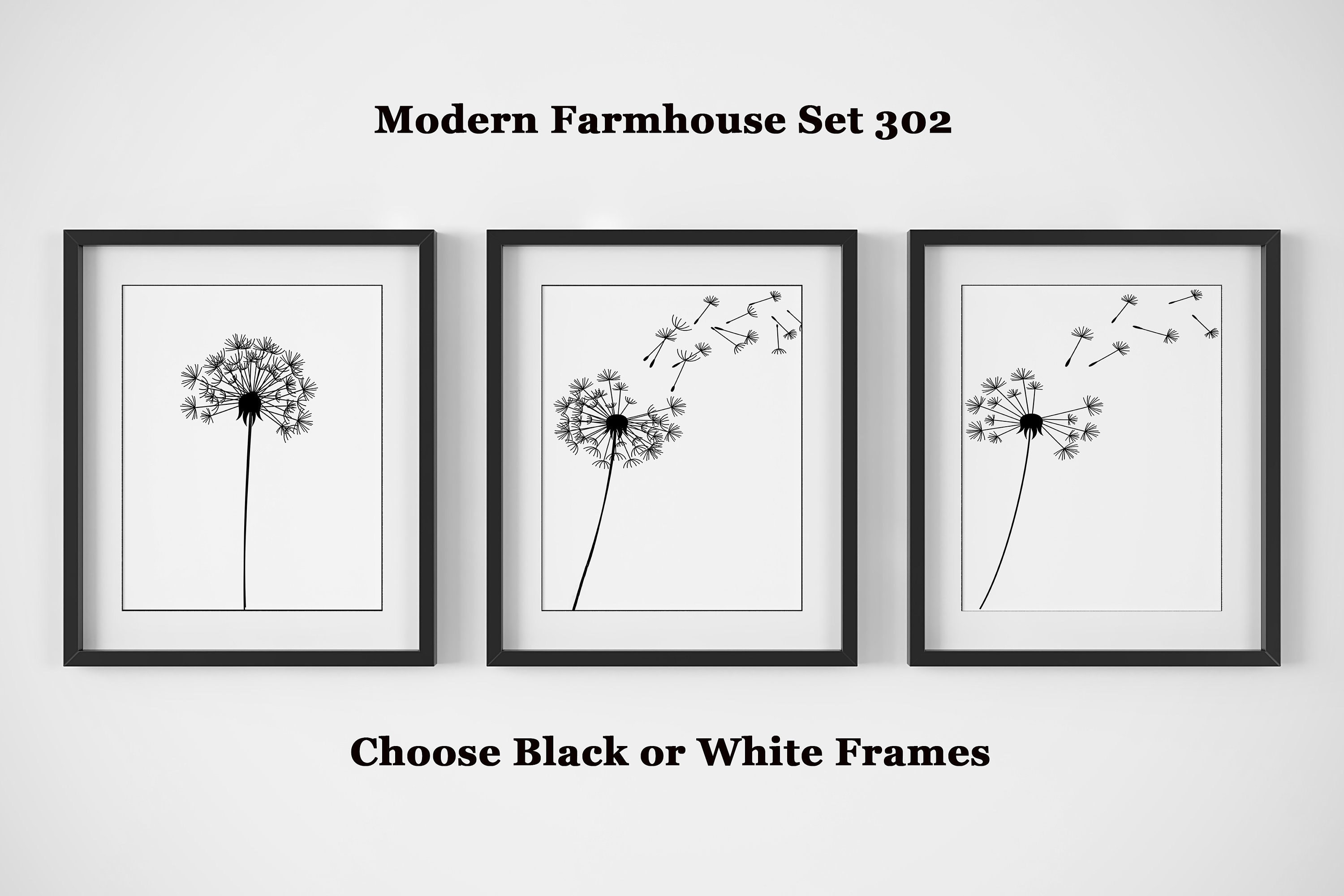 Modern Farmhouse Wall Decor Set Of 3 Black And White Prints