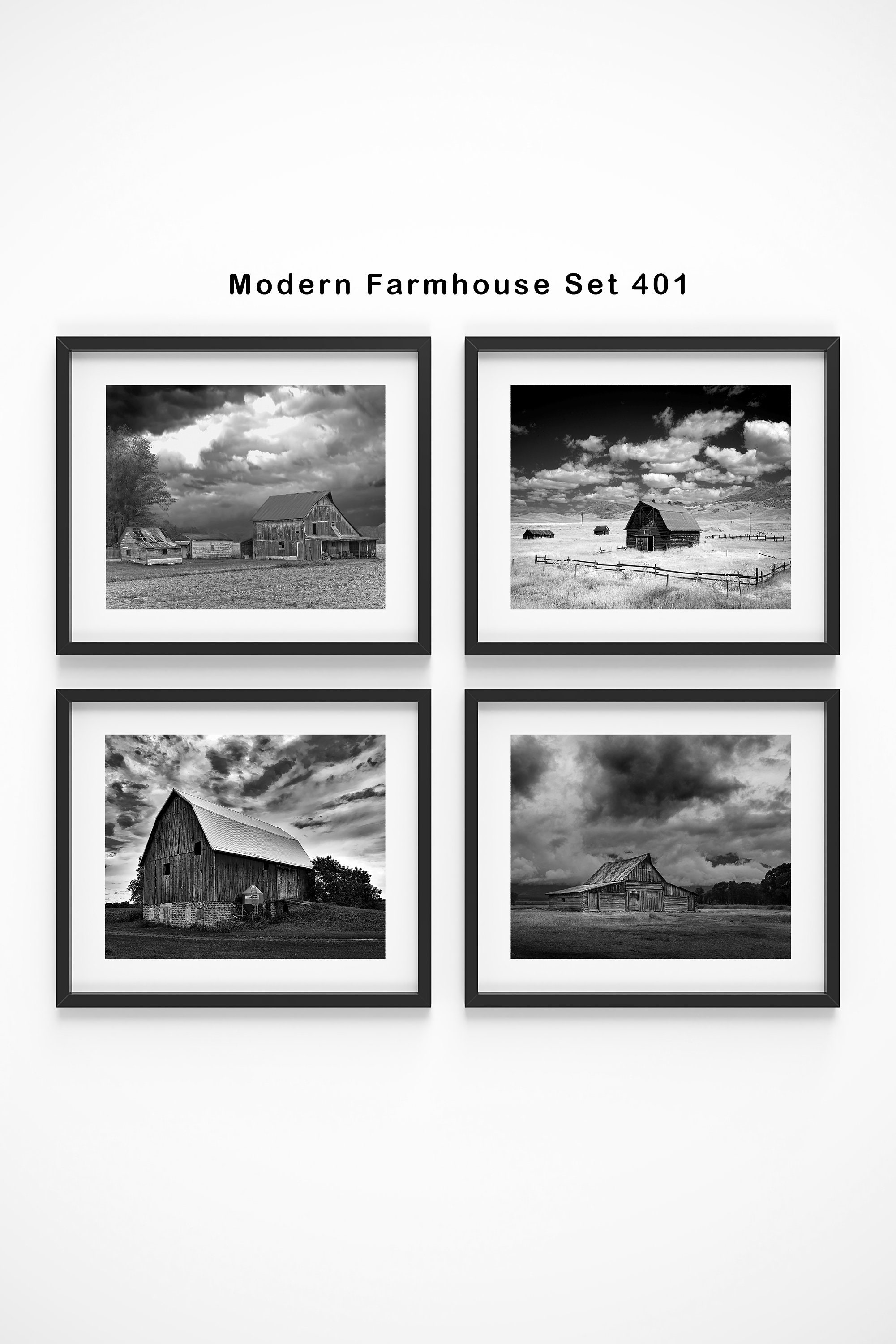Modern Farmhouse Decor Set Of 4 Prints Framed Wall Art Rustic