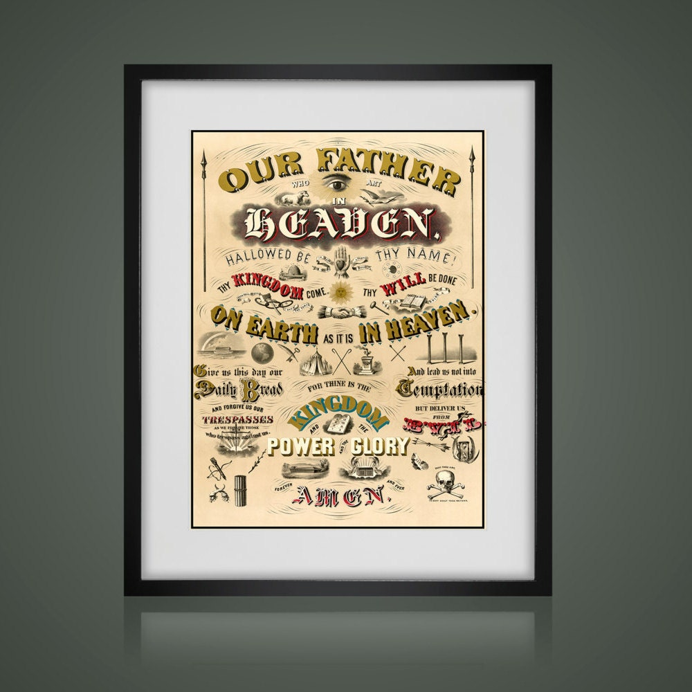 The LORDS PRAYER POSTER - Matted And Framed - Free Shipping - Black ...