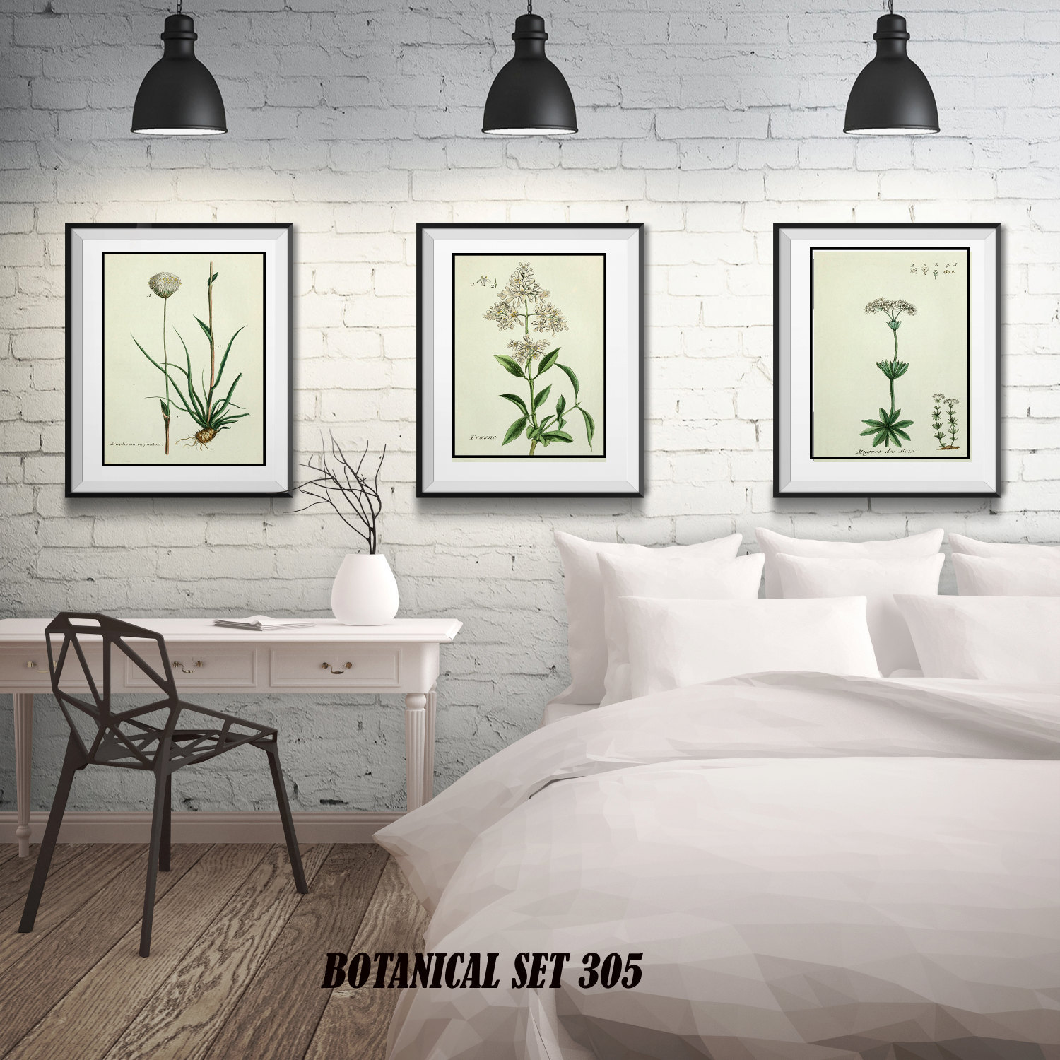 Botanical Print Set of 3, Matted and Framed, 3 Floral Prints, Free ...