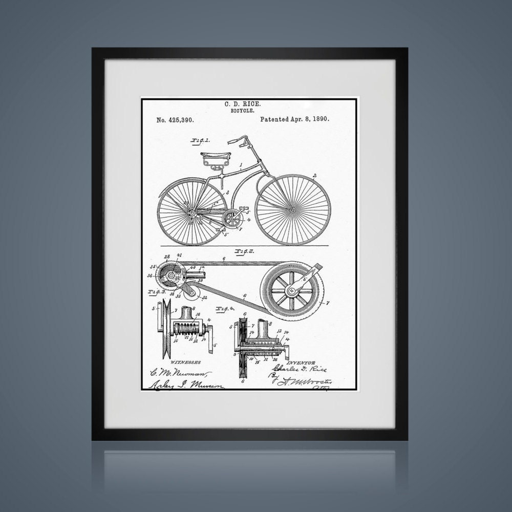 Framed Wall Art - Free Shipping - VINTAGE BICYCLE PATENT- Wall Art ...