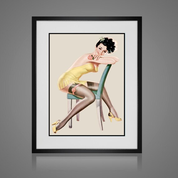 PINUP ART Matted and Framed Pin-Up Girl Vintage Risque | Etsy