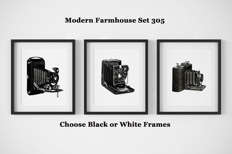 Modern Farmhouse Wall Decor, Set of 3 Black and White Prints, Camera ...