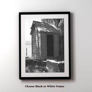 Bathroom Wall Art   Vintage Outhouse Photo Matted And Framed   Powder Room  Art   Rustic Modern Decor   Funny Bathroom Art   Wall Decor