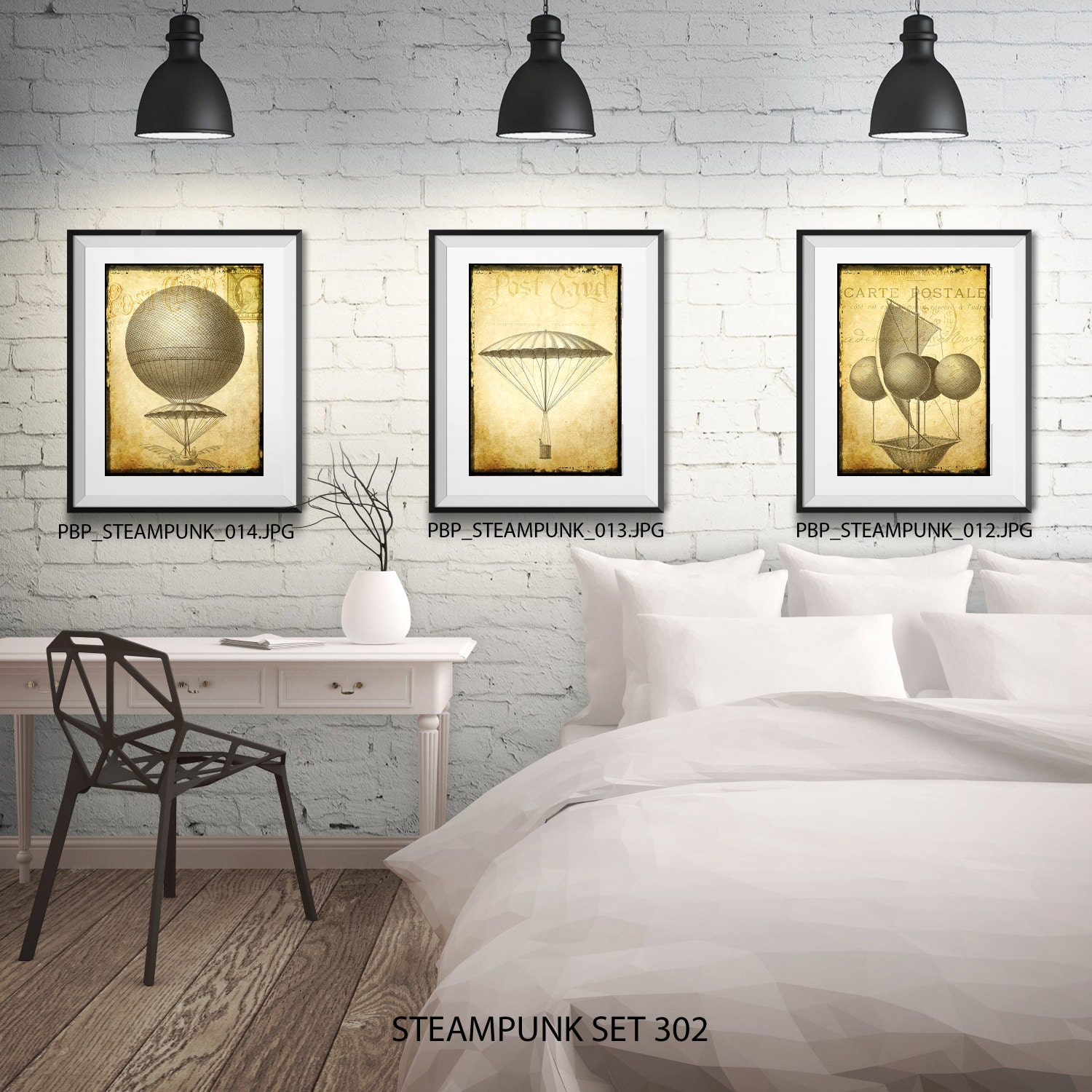 Steampunk Wall Art - 3 Prints - Matted and Framed - Free Shipping ...