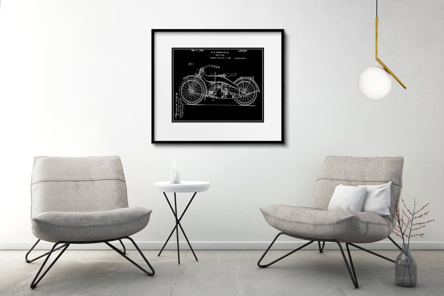 Harley Davidson Patent Print Matted and Framed or Just Matted and ...