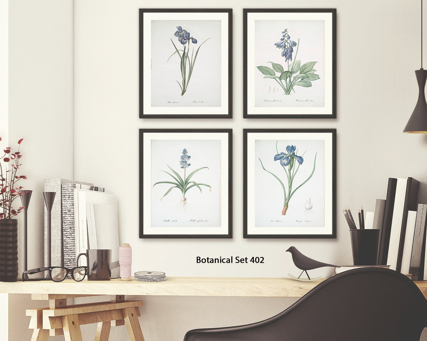 Botanical Print Set, Framed Art, Set of 4 Prints, Modern Farmhouse ...