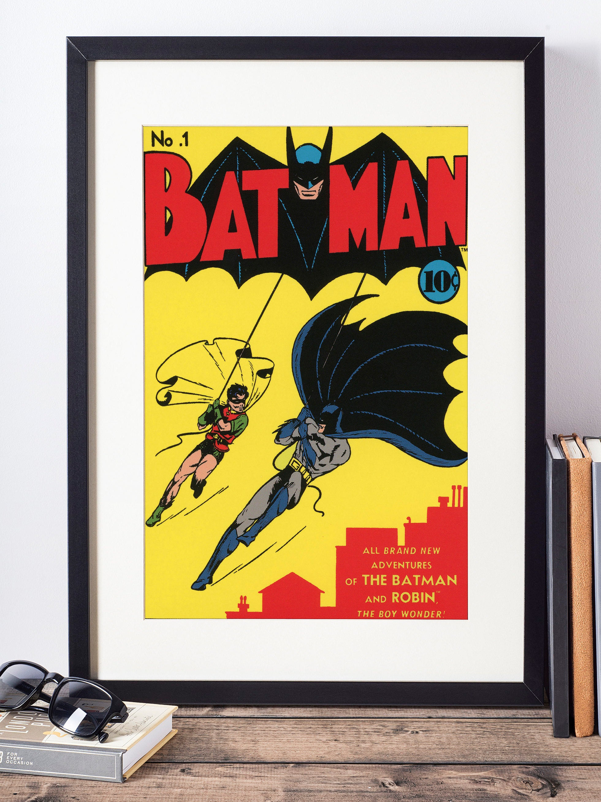 DC Comics Wall Art - Batman and Robin Cover Print - Matted and Framed