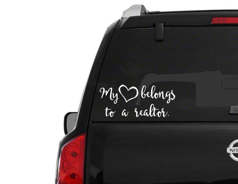 My heart belongs to realtor \u2022 car window decal \u2022 fast shipping \u2022 my heart belongs to a realtor sticker \u2022 realtor wifey realtor car decal