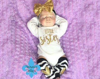 baby girl coming home outfit, newborn girl,Going Home Outfit, Newborn headband, baby girl outfit, Little Sister Onesie , newborn outfit