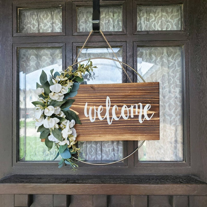 Welcome Wreath  Ring Wreath  Hoop Wreath  Door Hanger  image 0