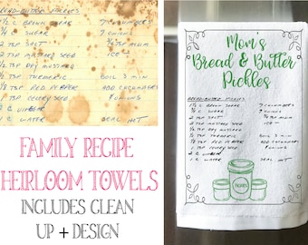 Handwritten Recipe Towel - Recipe Tea Towel Heirloom - Mother's Day Gift Idea - Unique Gift For Grandma - Nana Gift - Gift For Mom -