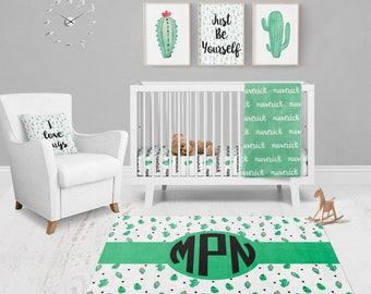 Cactus Nursery Bedding - Cactus Bedding - Personalized Baby Blanket -  Baby Name Blanket - Monogrammed Baby Blanket - Receiving Blanket