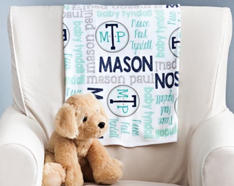 Personalized Baby Blanket - Baby Milestone Blanket - Custom Baby Blanket - Baby Name Blanket - Baby Shower Gift - Personalized Baby Boy