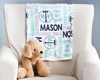 Personalized Baby Blanket - Baby Milestone Blanket - Custom Baby Blanket - Baby Name Blanket - Baby Shower Gift - Personalized Baby Boy