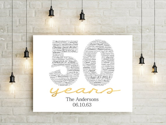 Golden Wedding Gifts Ideas: 50th Anniversary Gift CANVAS Golden Wedding Anniversary