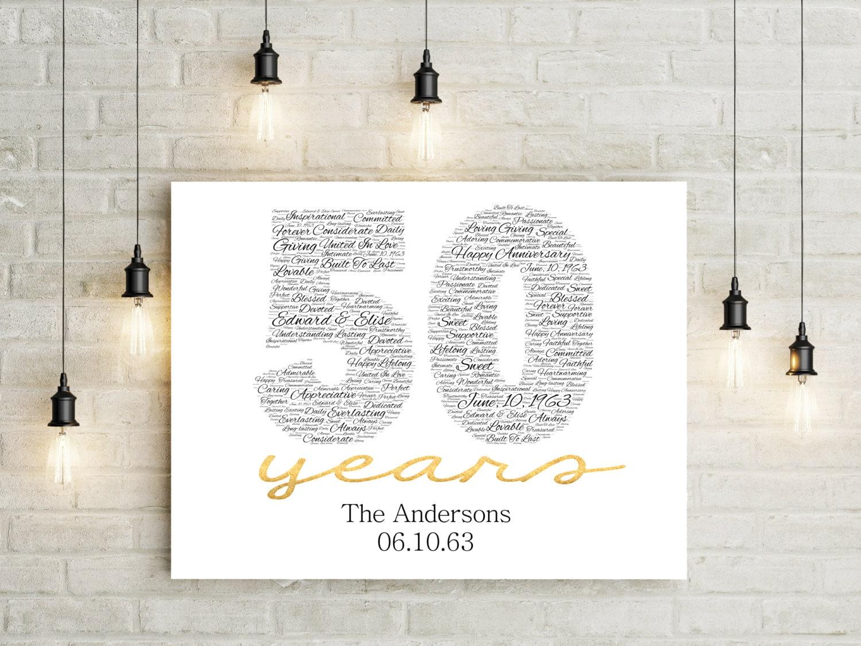50th Anniversary Gift Canvas Golden Wedding Anniversary Gift Etsy