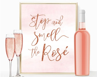 Printable bridal shower sign, Stop and Smell the Rose, 8x10 rose gold sign, Brunch & Bubbly, Bachelorette Sign