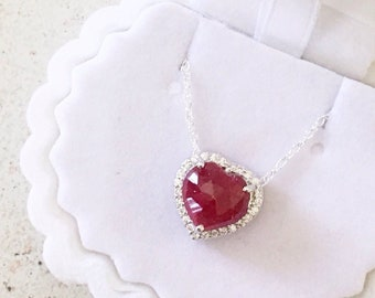 Real Ruby Heart Pendant, 925 Sterling Silver Ruby Pendant, Gift for her, Precious Stone Heart Pendant, Red Gemstone Pendant, Ruby Jewellery
