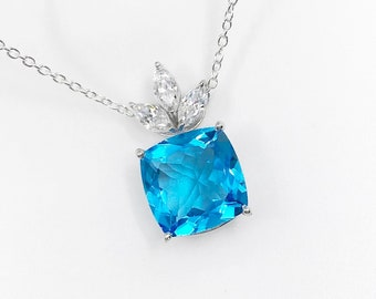 Blue Topaz 925 Sterling Silver Pendant, Genuine Top Swiss Blue Topaz Pendant Necklace, Large Blue Topaz Statement Necklace, Bridal jewelry