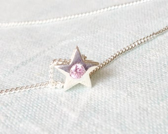 Simple 925 Sterling Silver Star Pendant Necklace with Pink Tourmaline Simulant, Gift for daughter sister Best friend October birthday Gift