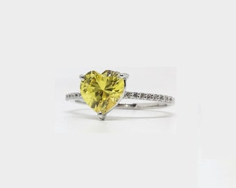 Heart Solitaire Accented Stones Engagement Wedding Ring, Yellow heart Diamond Simulant Sterling Silver White Rhodium half eternity Ring Her