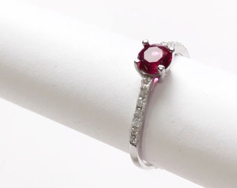 Engagement Sterling Silver Statement Solitaire Red Garnet Simulant Cubic Zirconia Promise Wedding Bridal Ring for women with Accented stone
