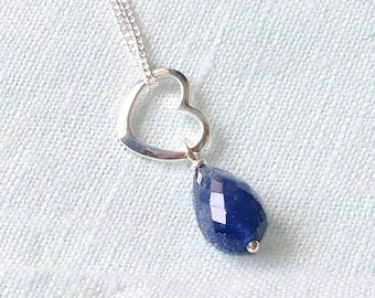 Solid Silver Open Heart and Faceted Natural Blue sapphire Gemstone Drop Pendant Necklace September Birthstone Valentine Gift for Girlfriend