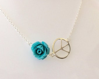 Sterling Silver Peace Symbol Turquoise Rose Necklace, Hand carved Blue Rose, Silver Peace Sign Charm Necklace Gift for Best Friend Birthday