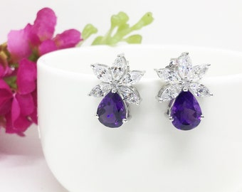 Natural Amethyst Earrings, Amethyst Earrings, Amethyst Studs, February Birthstone, Genuine Real Amethyst Jewellery, Bridesmaid Gift, Wedding