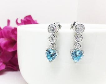 Heart Earrings, Man Made Diamond Simulant Heart Earrings, Aquamarine Simulant Heart dangle earrings, Birthstone earring, Gift for girlfriend