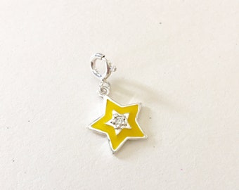 Star Charm, 925 Sterling Silver Charm, Yellow Enamelled Star Charm studded with single Round Cubic Zirconia, Christmas Gift, Bracelet charm