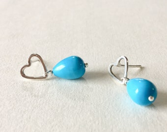 Open Heart Earring, Turquoise Earring, Teardrop Turquoise Earring, Sterling Silver Heart Earring, Silver turquoise earrings, Gift for her