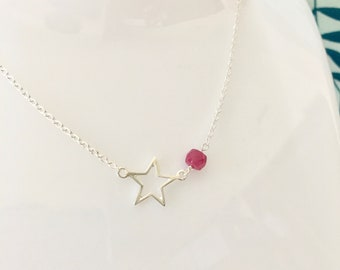 Star Necklace, 925 Sterling Silver, Silver Necklace, Genuine Ruby Necklace, Ruby Beaded Necklace, Gift for her, Celestial, Charm Necklace