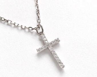 Good Friday Gift - Cross White Gold Golden Pendant With Adjustable Chain Studded with Cubic Zirconia, Baptism Silver Necklace Gift for her