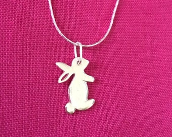 Handmade Silver Rabbit Pendant Animal Pet Bunny Hare Necklace Gift for Soul Sister best friend Sweet sixteen birthday gift for daughter