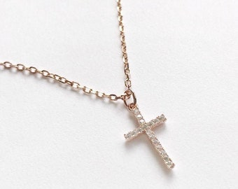 Good Friday Gift - Cross Rose Gold Golden Pendant With Adjustable Chain Studded with Cubic Zirconia, Baptism Silver Necklace Gift for her