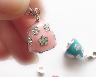 Sterling Silver Bell Charm, Christmas Gift for Children, Pink Enamelled Bell Studded with Cubic Zirconia, Bracelet, Keychain, Zipper Charm